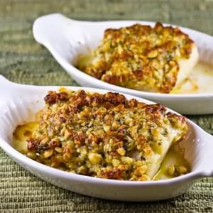 Baked White Fish with Pine Nut, Parmesan, and Basil Pesto Crust