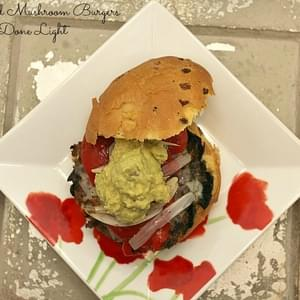 Stuffed Mushroom Burgers with Guacamole and Roasted Red Pepper