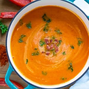 Creamy Red Pepper Soup with Smoked Paprika Yogurt and Crumbled Chorizo