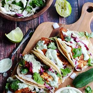 Blackened Fish Tacos with Avocado-Cilantro Sauce