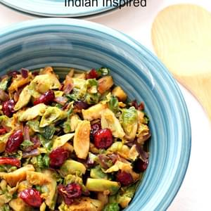 Spicy Stir Fried Brussels Sprouts with Cranberries-Indian Inspired