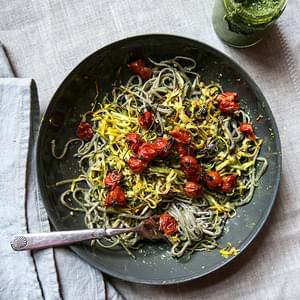 Soba Noodles With Roasted Zucchini, Cherry Tomatoes + Swiss Chard Pesto