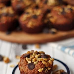 Banana Walnut Chocolate Chip Muffin Recipe (Gluten Free, Dairy Free, Egg Free)