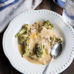 Slow Cooker Cheesy Broccoli and Chicken with Three Grains