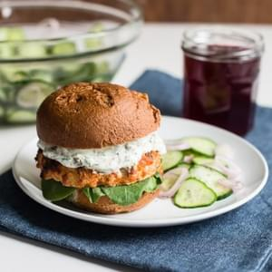 Salmon Burgers with Quick-Pickled Cucumber Salad