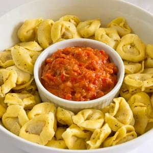 Tortellini with Roasted Pepper and Onion
