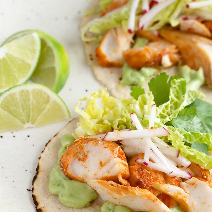 Spicy fish tacos with avocado yogurt sauce recipe for Yogurt sauce for fish