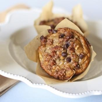 Banana Muffins with Chocolate Chip Streusel Topping