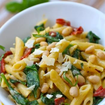 Creamy Pasta with White Beans and Spinach