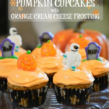 Pumpkin Cupcakes with Orange Cream Cheese Frosting