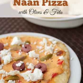 Naan Pizza with Olives & Feta