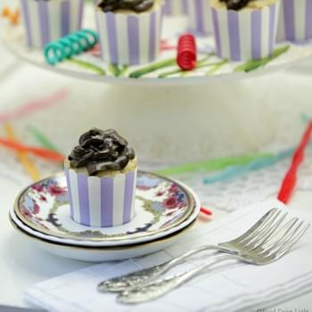 Skinny White Velvet Cupcakes with Dark Chocolate Cream Cheese Frosting