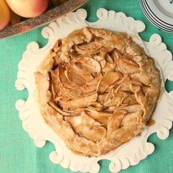 Rustic Apple Gallette with Oil Crust and Caramel Glaze