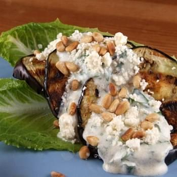 Grilled Eggplant Salad w/ Feta and Pine Nuts