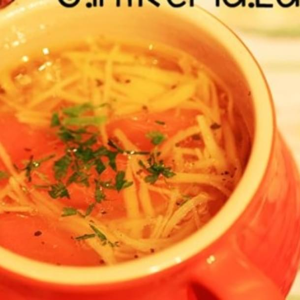 Chicken noodle soup. Romanian traditional recipe.