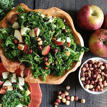 Fuji Apple Kale Salad with Maple Spiced Hazelnuts