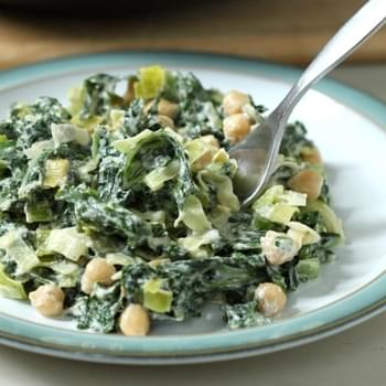 Creamed Kale With Chickpeas