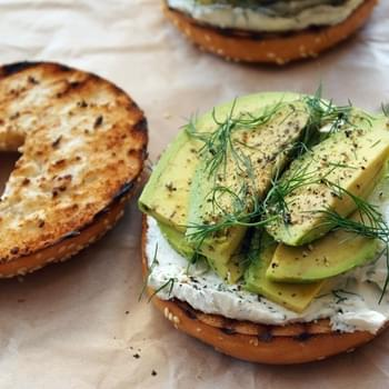 Toasted Bagel With Dill Cream Cheese & Avocado