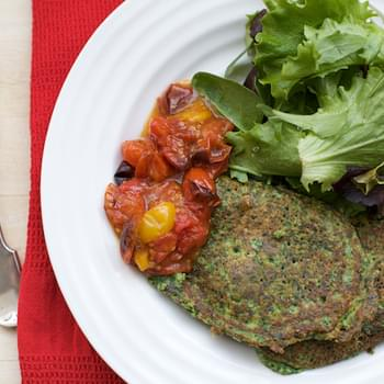 Simple Spinach, Cottage Cheese And Oat Pancakes