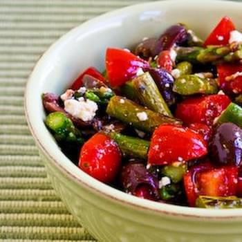 Salad Recipe with Asparagus, Cherry Tomatoes, Kalamata Olives, and Feta