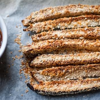 Baked Aubergine Fries With Miso Dip