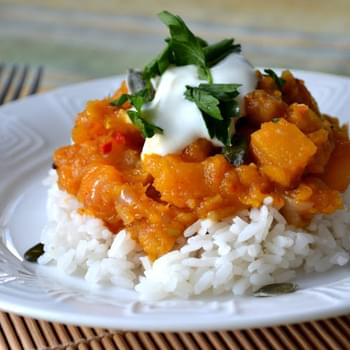 Moroccan Stewed Pumpkin with Chickpeas and Preserved Lemon