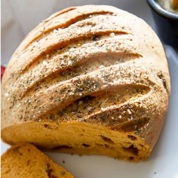 Sun Dried Tomato Bread With An Oregano And Sea Salt Crust.