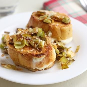 Leek and cheese stuffed savoury French toast