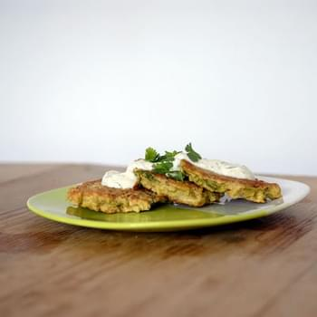 Cauliflower and Cumin Fritters with Lime Yogurt