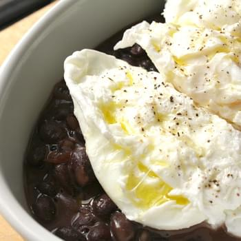 Black Beans and Goat Cheese with Poached Eggs