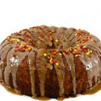 Skinny Apple Cake With Caramel Glaze