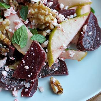 Pear and Beet Salad With Walnuts and Goat Cheese