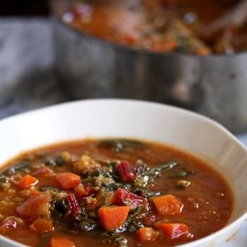Moroccan Red Lentil Soup with Chard