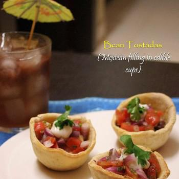 Bean Tostadas (Mexican filling in edible tortilla cups)