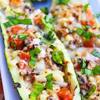 Spicy Italian Stuffed Zucchini Boats