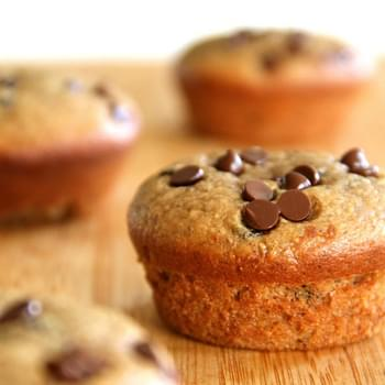 Flourless Chocolate Chip Almond Butter Muffins