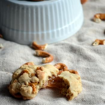 Salted Caramel Stuffed Pretzel Cookies