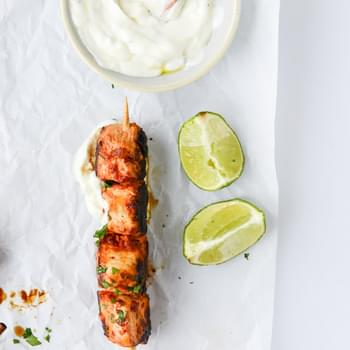 Chili Garlic Chicken Skewers with Yogurt Sauce