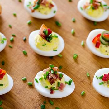 Deviled Eggs with Bacon and Chives