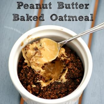 Healthy Chocolate Peanut Butter Cup Baked Oatmeal