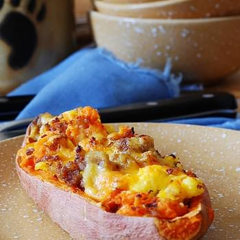 Stuffed Sweet Potatoes For Breakfast – With Sausage And Eggs