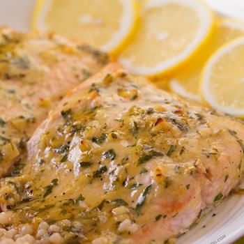 Baked Salmon with Honey Dijon and Garlic