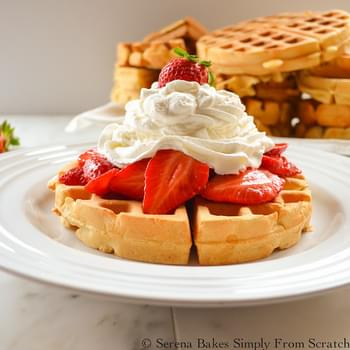 Perfect Waffles with Strawberries and Whip Cream