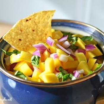Easy Mango Salsa with Basil-A Healthy Game Day Salsa