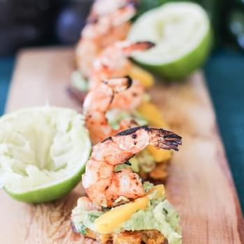 Tostones with Grilled Shrimp and Guacamole