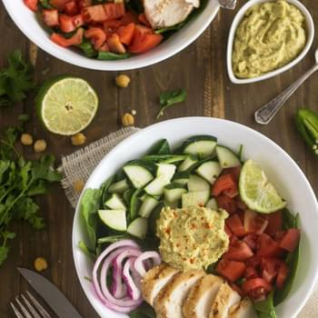 Copy Cat Panera Cilantro Lime Hummus Chicken Power Salad {GF, Low Fat, Low Calorie, Easy + High Protein}