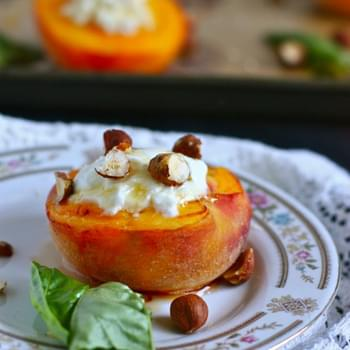 Roasted Peaches with Goat Cheese and Honey