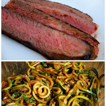 Balsamic Marinated London Broil Steak with Pan-Fried Zucchini Noodles