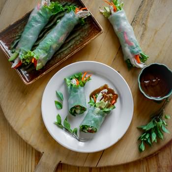 Turkey Avocado Spring Rolls with Hoisin Nut Dip