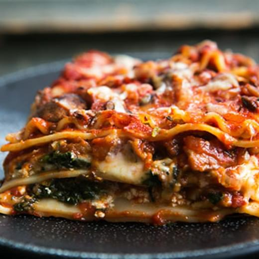 Vegetarian Spinach and Mushroom Lasagna